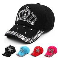 2016 new fashion ball cap rhinestone crown shaped Sun hat  denim caps women men Outdoors Snapback hats summer G-254