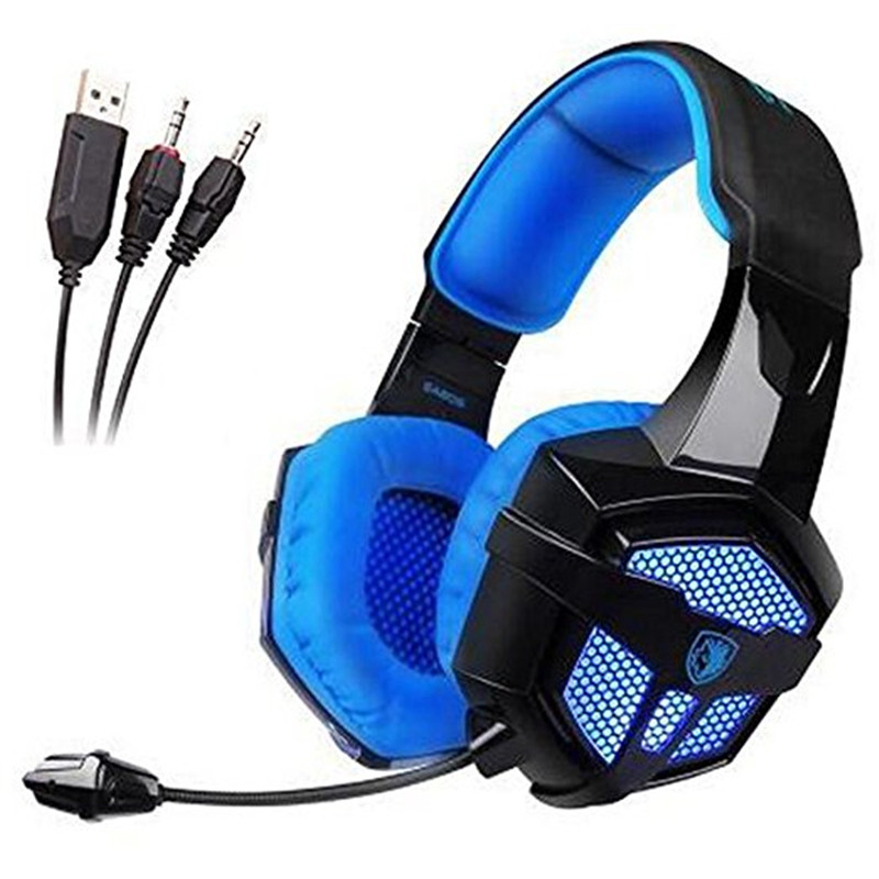 Sades SA806 Stereo 3.5mm USB Wired Led Light PS4 PC Gaming Headset Headphones with Microphone for [New Xbox One] Laptop Computer aaliayh gaming headphones for ps4 ps3 for xbox 360 xbox one pc wire headset headphones with microphone voice control headphones
