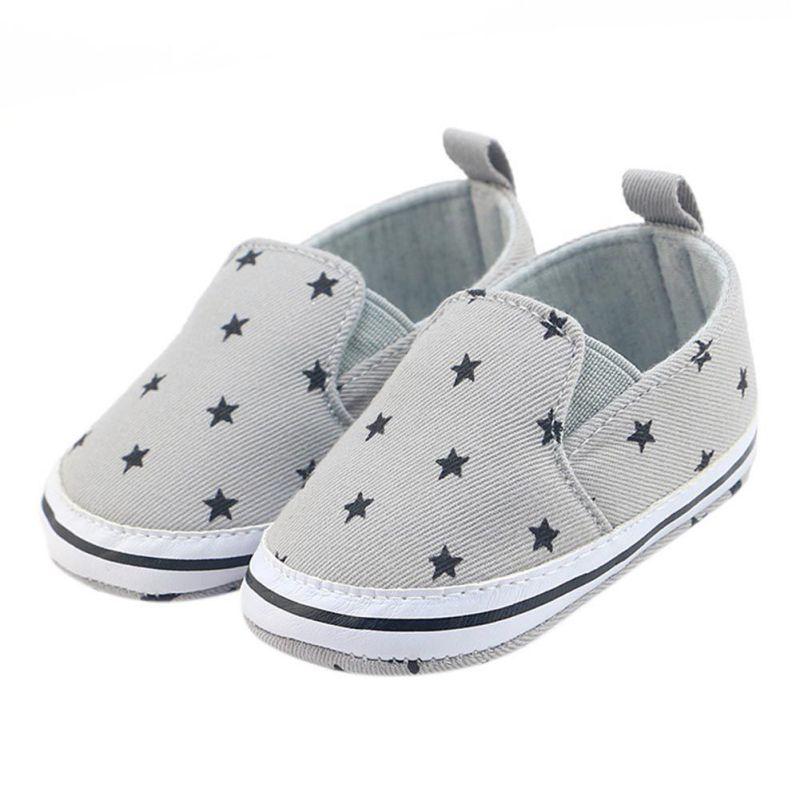 Infant Soft Shoes Infant Anti-Slip Crib Cotton Shoes Prewalker Toddler Girls Kid Gray Star Print Soft Shoes 0-18 Months