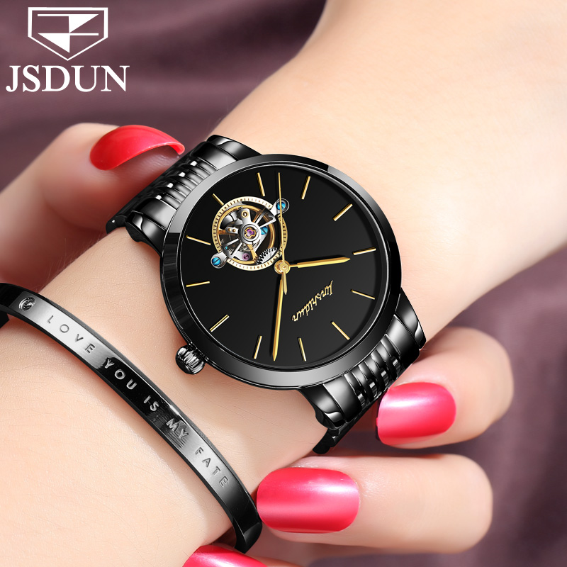 JSDUN Luxury Watches Top Brands Women Watches Automatic Self-Wind Mechanical Watch Steel Bracelet Tourbillon Ladies Clock 11.11 2017 new jsdun luxury brand automatic mechanical watch ladies rose gold watches stainless steel ladies tourbillon wrist watch