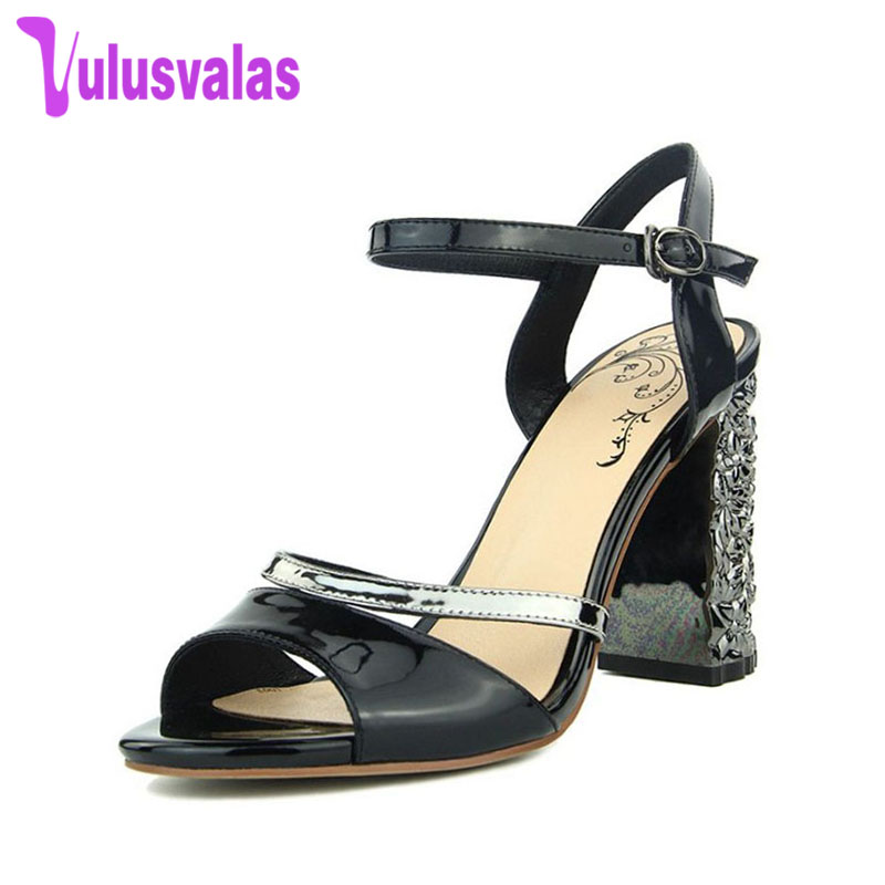 VulusValas Women Block Heel Summer Sandals