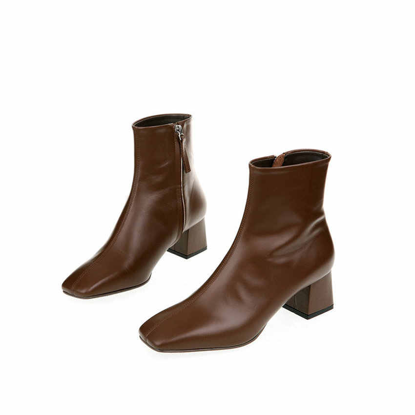 QUTAA 2020 yeni sonbahar kış hakiki deri Retro kare ayak fermuar yarım çizmeler kare topuk tüm maç kadın ayakkabı boyutu 34 -39
