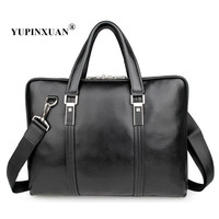 YUPINXUAN Europe Stylish Genuine Leather Office Bags Mens 15 Laptop Handbags Cow Leather Messenger Bags Large