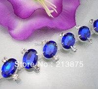 Freies verschiffen Diy glas & harz Sapphire blue Oval Schildkröte oberfläche silber klaue kette hochzeit kleidung dekoration 1 Yard 02