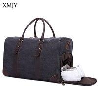 XMJY Travel Bags Men Vintage Military Canvas Leather Big Tote Hand Luggage Travel Duffle Bag Fashion