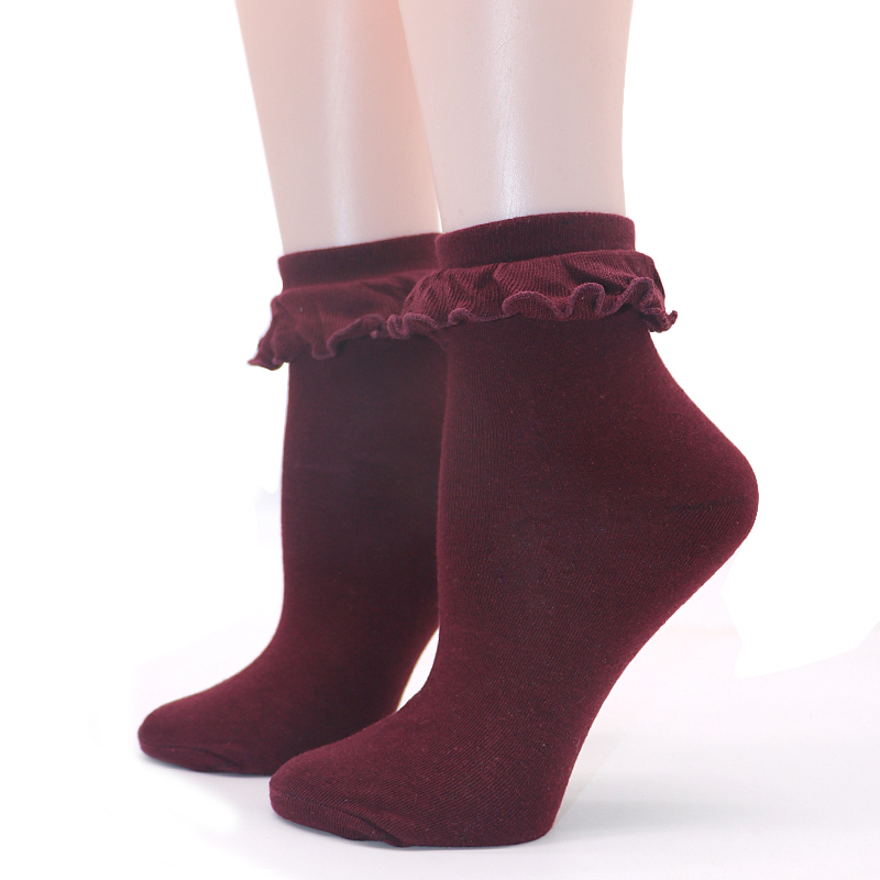 1Pair Japanese Kawaii Lolita   Sock   with Lace Lovely Women Ankle   Sock   Female Cute Princess Lace Ruffle Retro Frilly   Sock   for Lady