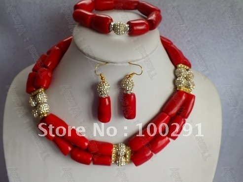 Red Coral Jewelry Set Women African Wedding Bridal Necklace bracelet earrings