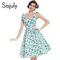 Sisjuly summer vintage dress pin up green sleeveless a line party dress rockabilly style flower print 2017 new vintage dresses