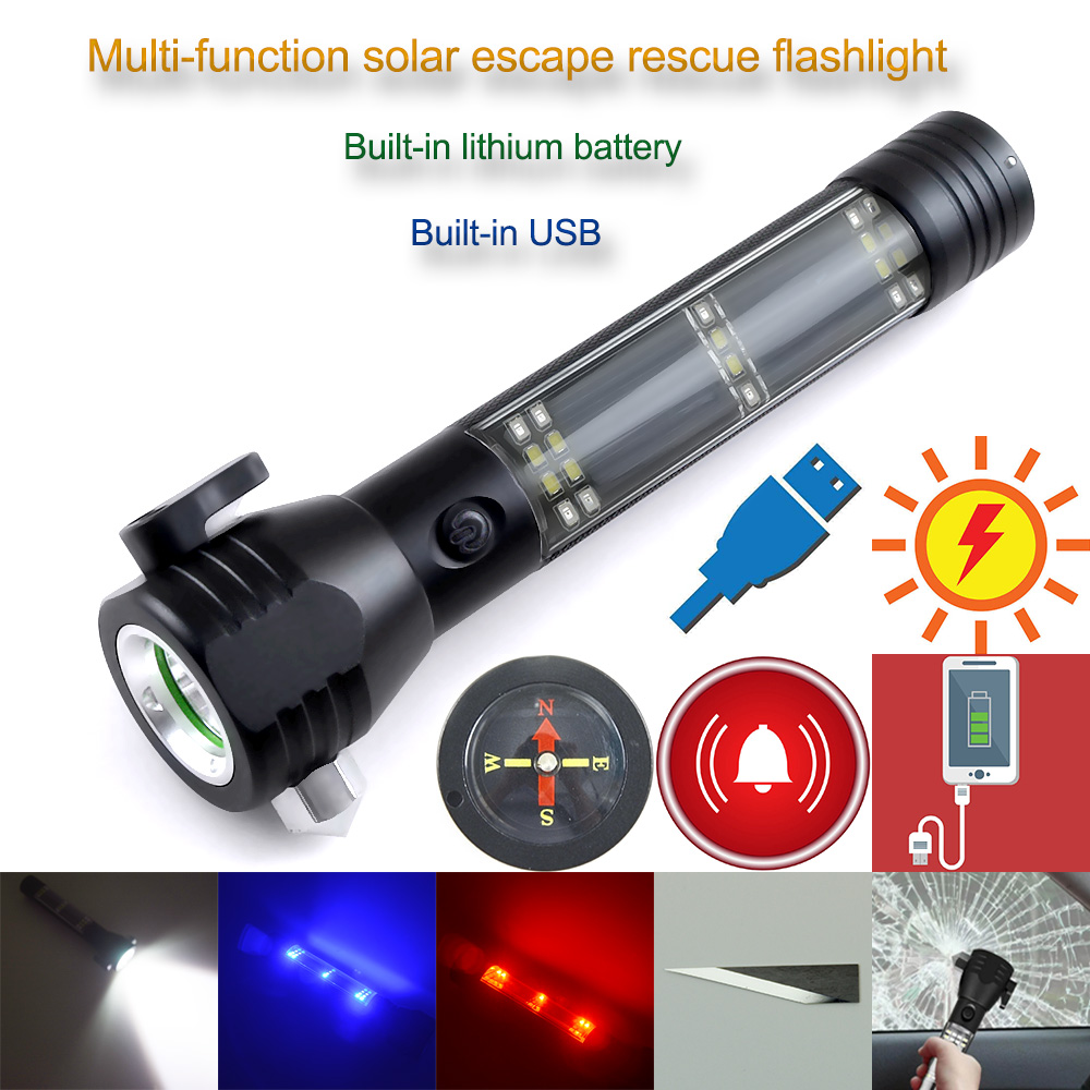Cree R5 3800LM Multifunctional Solar Waterproof Rechargeable Led Flashlight with Safety Hammer Power Bank Alarm and Tail Compass rechargeable multifunction emergency torch lights usb power bank led solar flashlight with safety hammer compass magnet