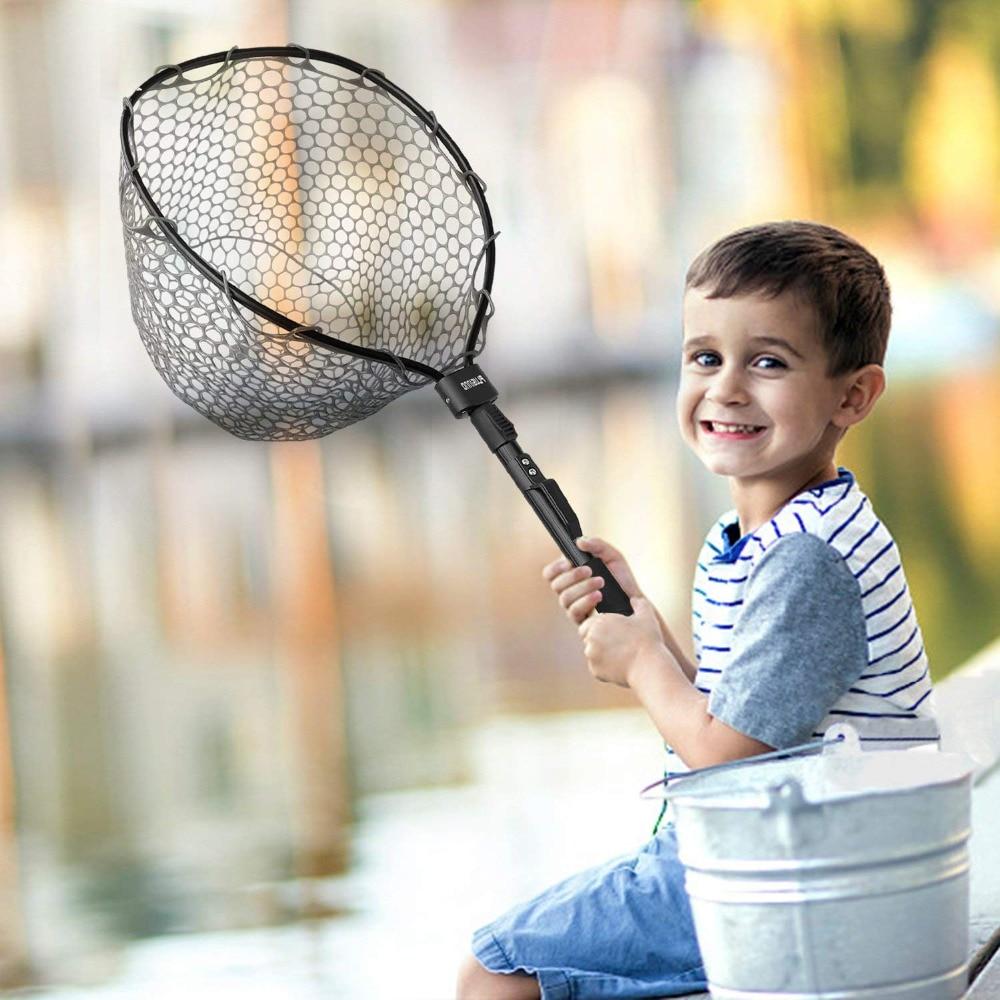 купить PLUSINNO Foldable Fly Fishing Net Brail Fish Landing Net, Trout Bass Net Soft Rubber Mesh Catch and Release Net онлайн