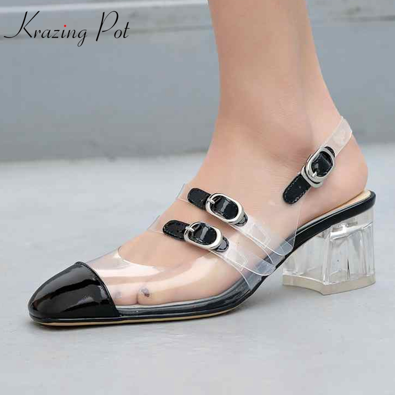 Krazing pot cow leather transparent TPU material crystal med heel square toe runway shallow bling slingback party sexy pumps L38Krazing pot cow leather transparent TPU material crystal med heel square toe runway shallow bling slingback party sexy pumps L38