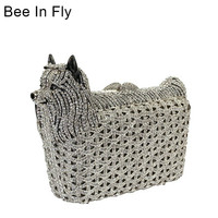 Bee In Fly Silver Crystal Clutch Rhinestone Bag Women Metal Purse Wedding Party Evening Bag