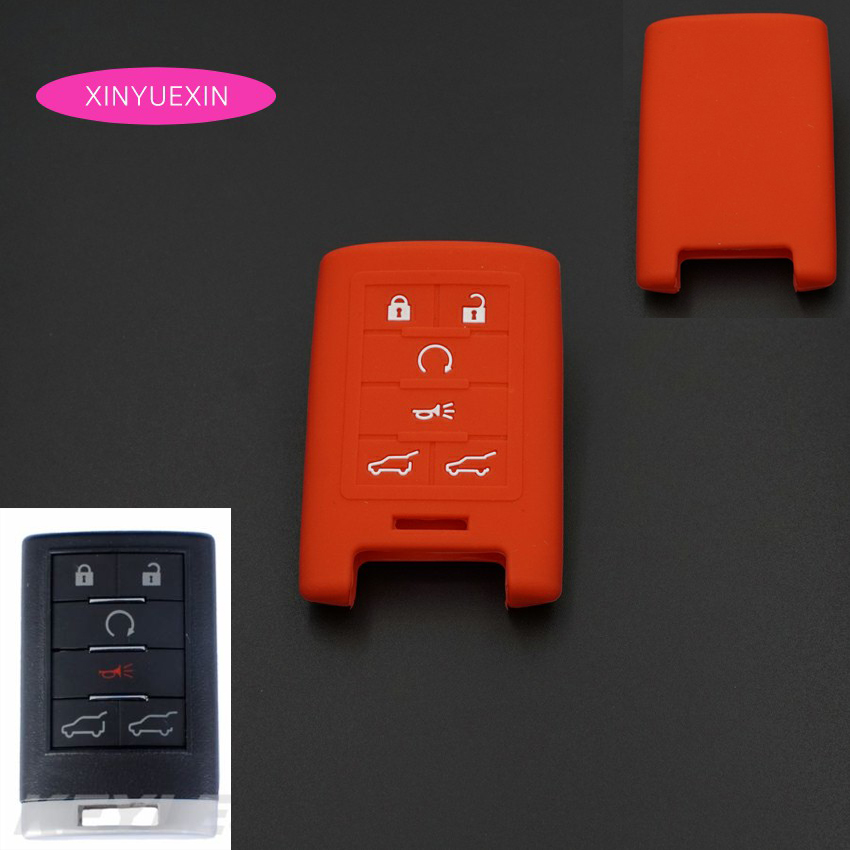 Xinyuexin Silicone Rubber Key Cover For Cadillac Escalade CTS ATS Smart Key Case For Car 6 Buttons Car Styling Shell Cover