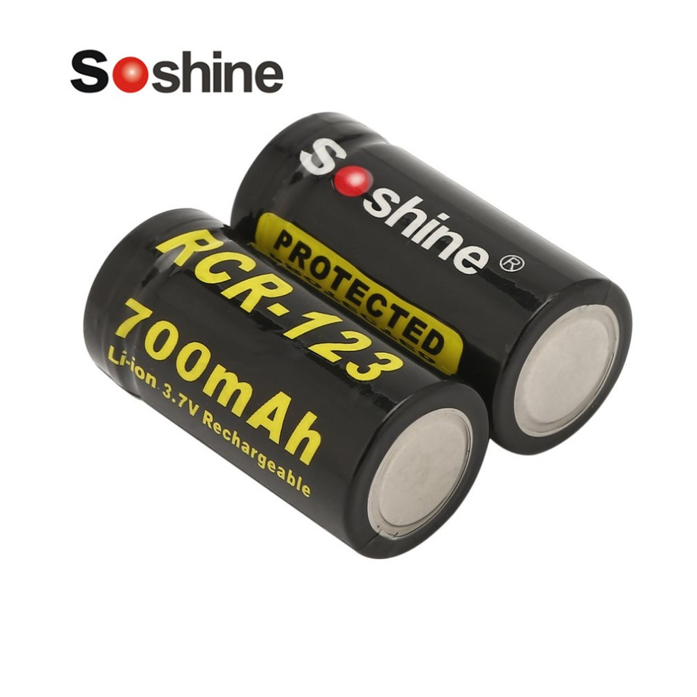 Soshine 2pcs 16340 RCR123 3.7V 700mAh Rechargeable Battery with Battery Case Protected 2.59Wh Li-ion Battery for LED Flashlights