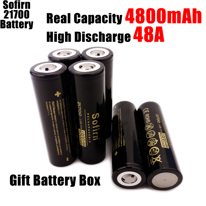 Sofirn 21700 Rechargeable Lithium 4800mAh 3.7V Power Battery 48A 10C High Discharge High Drain Li-ion Battery HD Cell
