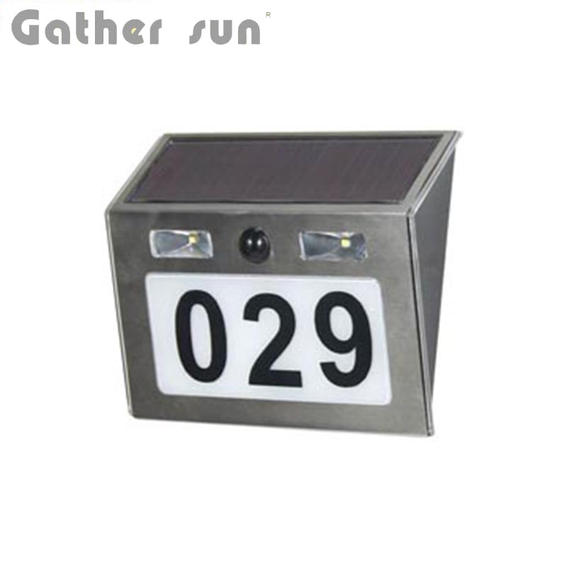 Solar Doorplate Light Outdoor Stainless Steel IP44 Waterproof Apartment House Number Light-Operated Lamp With PIR Sensor Light