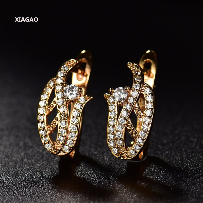 XIAGAO New Design Hoop Earrings For Women Earring High Quality Gift Brinco Fashion Party Jewelry Cubic Zircon Gold Color E229
