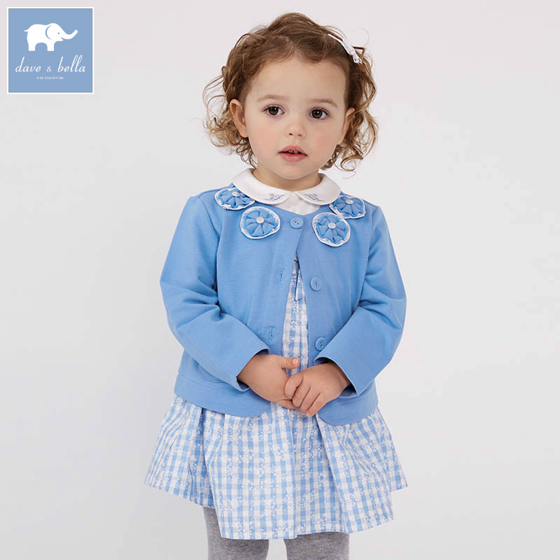 DBM7178 dave bella spring infant baby girl fashion blue coats children cute top kids high quality clothesDBM7178 dave bella spring infant baby girl fashion blue coats children cute top kids high quality clothes