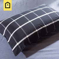 Brand 100 Cotton Bedding Pillow Case Home Textile Grade A Level Black White Plaid 1 Pair