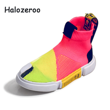 Spring New Kids High Top Casual Shoes Children Mesh Sport Sneakers Boys Slip On Brand Shoes Baby Girls Black Shoes Trainer 2019 spring new kids pu leather shoes baby girls sport sneakers children mesh shoes boys fashion casual shoes soft brand trainer 2019