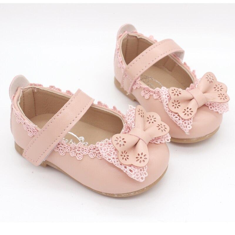 2caed4ef3 Los niños de la flor de las niñas bebé Bowknot zapatos de cuero para niñas  zapatos de vestido de boda del Partido Nueva 1