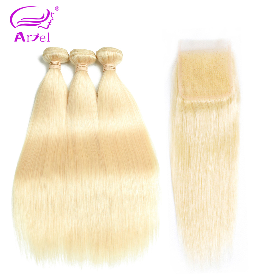 Ariel Brazilian Straight Hair 613 Bundles With Closure 10 26 Inch 613 Human Hair Bundles With