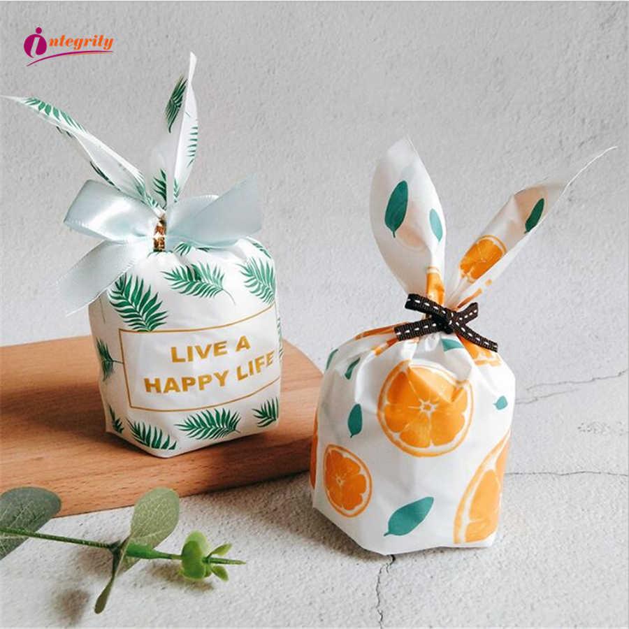 יושרה 10pcs חמוד ארנב אוזן קוקי מתנת תיק עבור פסחא קישוט ממתקי ביסקוויטים חטיף אפיית אריזה חתונה טובה מתנות