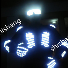 DX005 Mens ballroom LED Luminous costumes/ lluminated Suit+LED lights glasses+LED gloves total set/dj led light dancing clothes