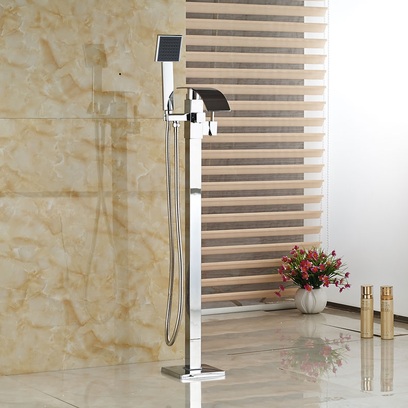 Free Standing Bathtub Floor Mounted Faucet Tap Set Hand Shower Bath Waterfall Spout Chrome Finish