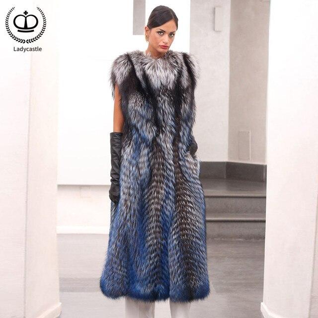 7a58216159491 2019 New Real Fur Coat Women O Neck Female Fashion Winter Natural Sliver  Fox Fur Vest