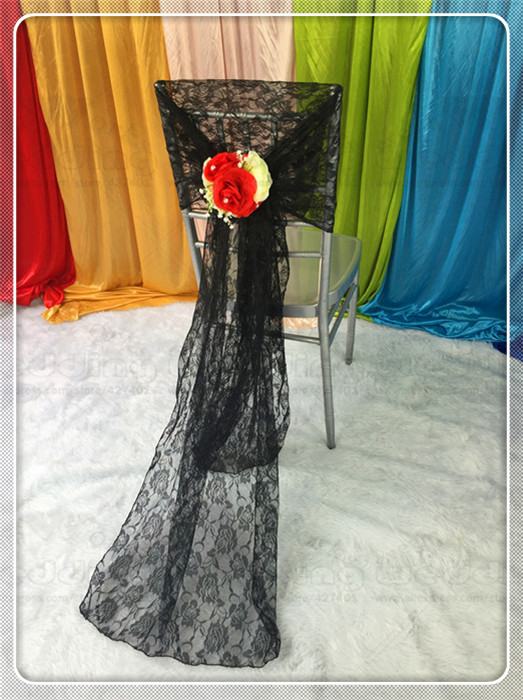 50PCS Chair Hoods Caps Sashes Bow Lace Fabric Runner Tablecloth Napkins Skirt Overlay Linen Party Wedding Home (Wtihout Flower)