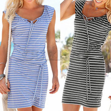 Fashion Women Summer Boho Stripe girl Dress Evening Party Beach dress women summer