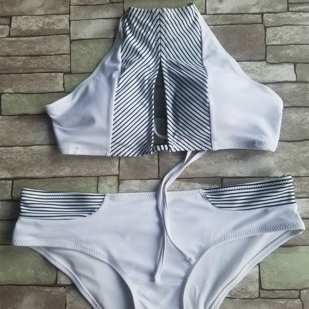 Sexy Swimwear Women High Neck Swimsuit Stripe Bikini Set PushUp Padded  2018 New Cut Out Bikini Bathing Suit Tight Biquini