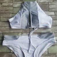 Sexy Swimwear Women High Neck Swimsuit Stripe Bikini Set Push Up Padded 2018 New Cut Out Bikini Bathing Suit Tight Biquini