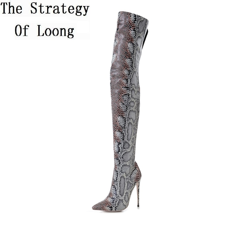 2017 New Pointed Toe Snake Print Thin High Heels Thigh High Women Long Boots Winter Lady Over The Knee High Boots 20171215 gladiator shoes denim thigh high boots women boots 2017 winter shoes over the knee fashion pointed toe thin heels mixed colors