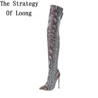 2017 New Pointed Toe Snake Print Thin High Heels Thigh High Women Long Boots Winter Lady