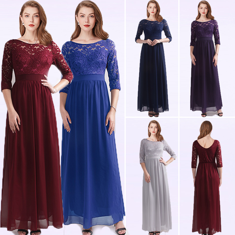 Robe Demoiselle D'honneur Elegant Cheap A Line O Neck Burgundy Bridesmaid Dresses For Wedding Party Gowns With Sleeve Plus Size