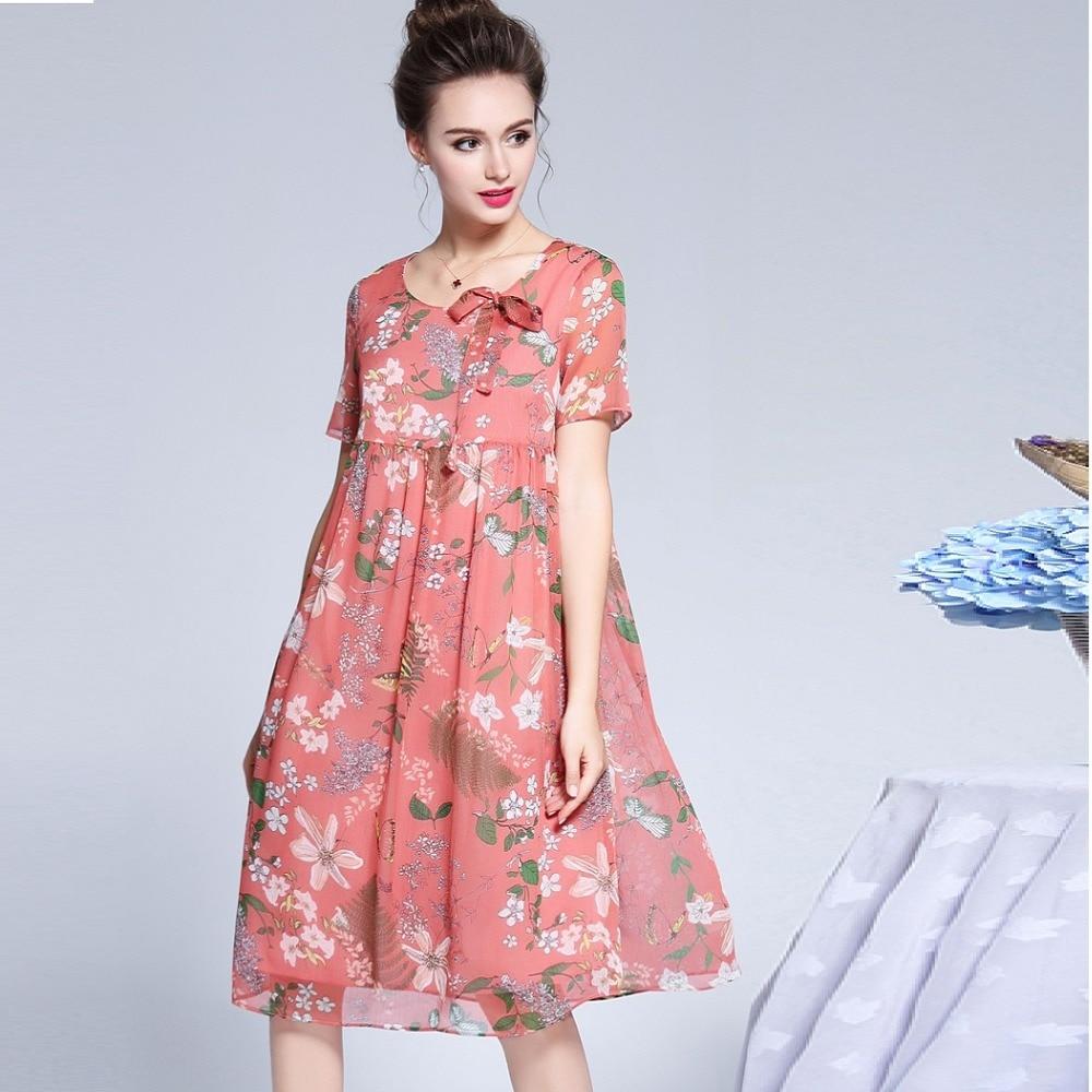 2018Summer fashion Ladies Plus Size cute chiffon Dress empire floral dress elegant flare dress casual vestido