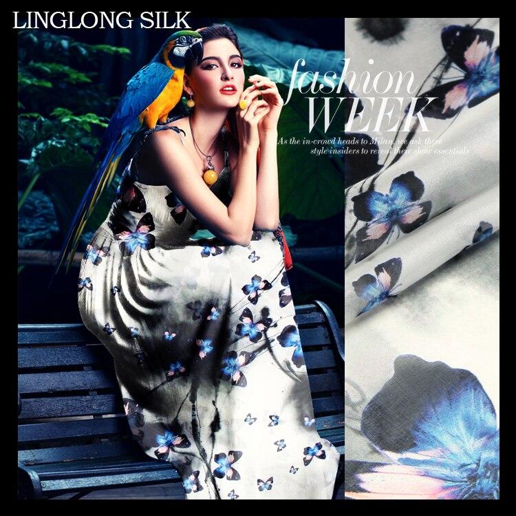 Mousseline de soie imprimée 140 cm largeur 8 momme/100% mousseline de soie Pure naturelle pour coudre 2016 printemps femmes robe en mousseline de soie-papillon