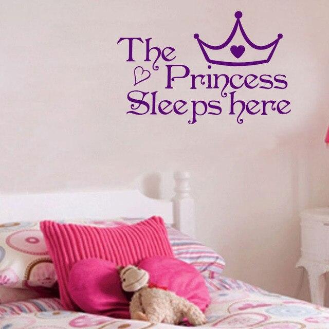 The Princess Sleeps Here Kids Bedroom Wall Decals Home Decor Sticker Children Art
