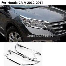8d040bb24dc6 Coche delantero cabeza luz lámpara moldura del marco palo ABS cromo  cubierta 2 piezas para Honda CRV CR-V 2012 2013 2014