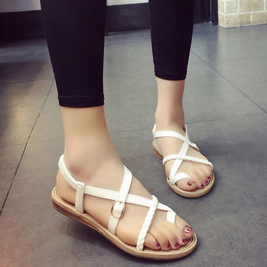 b6f8515b3 SAGACE Shoes Sandals summer Women Bohemia Bandage Clip Toe Herringbone Sandals  Beach Flat Casual sandals summer 2018MA28-in Low Heels from Shoes on ...