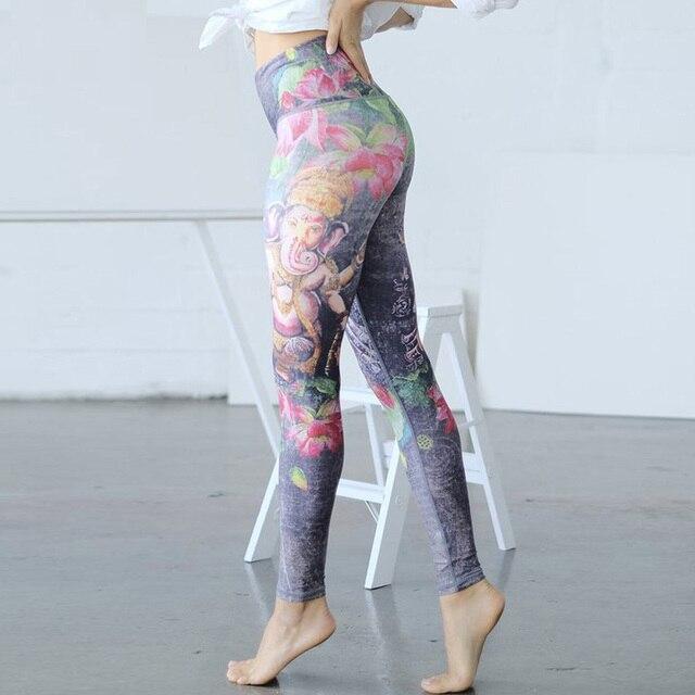 Le Накаи Для женщин цветочные печатных Леггинсы для йоги спорт Фитнес геометрический с полосками штаны для йоги спортивные беговые Перевозка груза падения