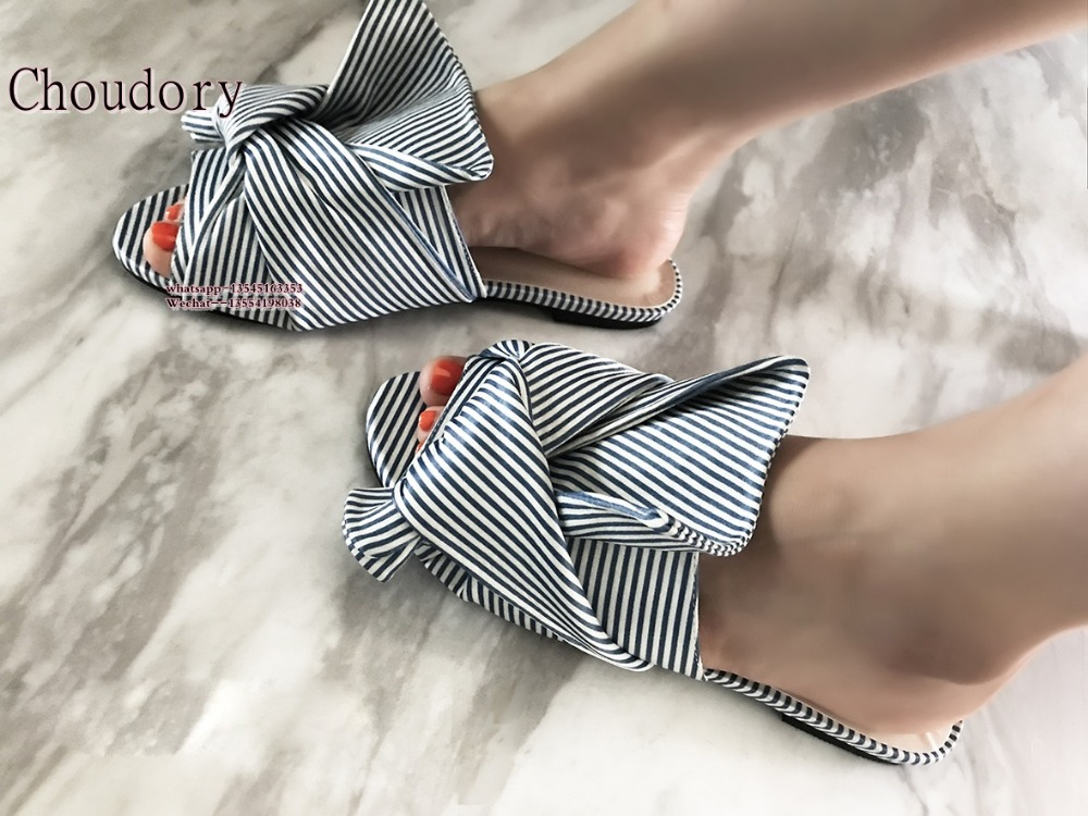 2017 New Fashion Open Toe Women Stripe Slippers Blue Big Bowtie Slides Summer Flat Sandals Casual Shoes Woman Beach Flats Sandal mcckle 2017 new fashion woman shoes women s sandals black platform ankle wrap flat open toe casual comfortable summer