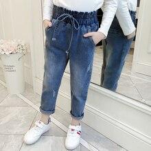 Повседневные джинсы для маленьких девочек; одежда для детей; Модные свободные джинсы; Одежда для девочек; детские брюки; Vestidos для детей 6, 8, 10, 12 лет