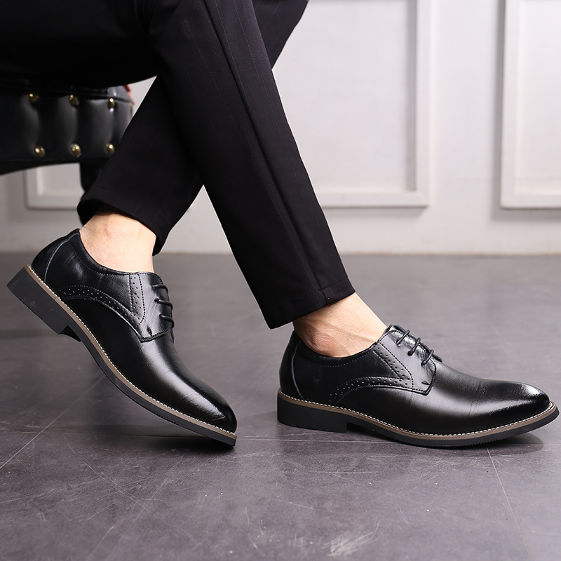 2019 Spring New Shoes Dress Men 39 s Shoes Business Shoes Men 39 s Leather Lace up Shoes for Wedding Low Hell in Formal Shoes from Shoes