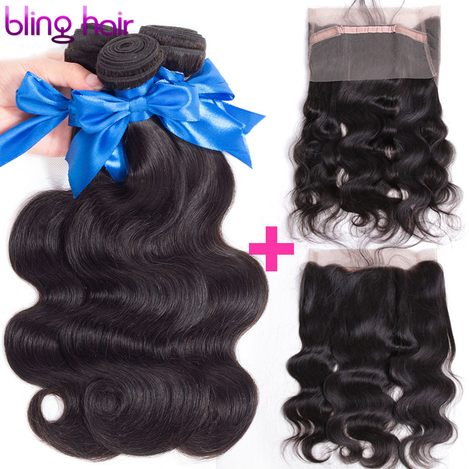 Bling Hair Brazilian Body Wave Hair Bundles with Closure 360 Lace Frontal Human Hair Closure Free Part Non Remy Hair Extensions-in 3/4 Bundles with Closure from Hair Extensions & Wigs    1