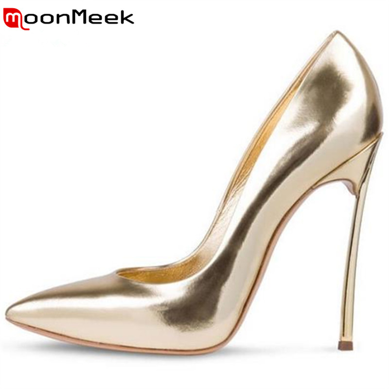 ФОТО MoonMeek 2017 super high new arrive women pumps shallow classic spring autumn single shoes pointed toe ladies office shoes