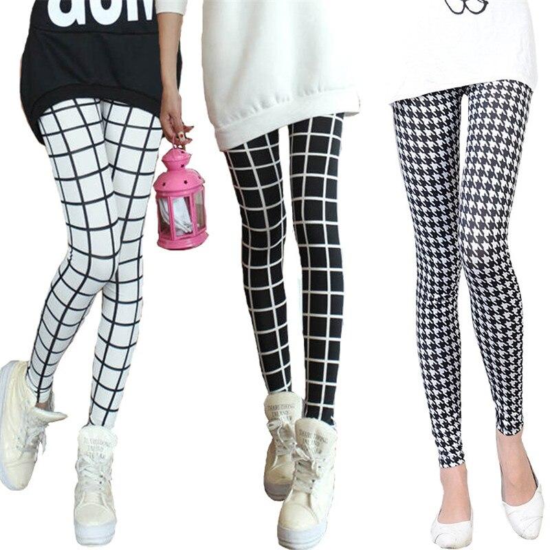 a5b5ff8e6a572 2016 Black and White Grid Milk Silk Female Checkered Leggings Houndstooth  Skinny High Elastic Ankle Trousers Leggings Woman