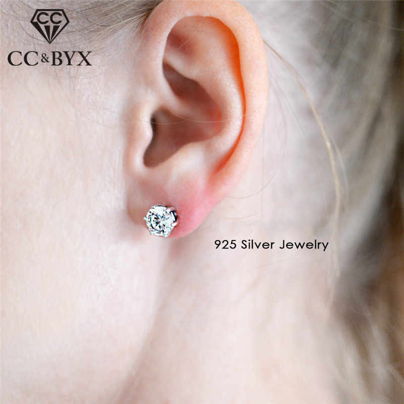 CC Pure 925 Silver Stud Earrings For Women 3-10mm Cubic Zirconia Trendy Jewelry Classic Wedding Brincos Bijoux Femme CCE512